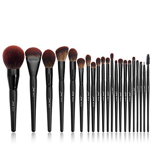 Jessup Makeup Brushes Set Premium Synthetic Powder Foundation Highlight Concealer Eyeshadow Blending Eyebrow Liner Spoolie Brush Set Black 21pcs T271