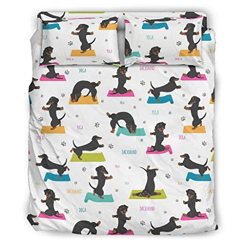DOGCATPIG Dachshund Animal Breathable & Cooling Bed Bed Set Hypoallergenic Bedding Set for Bedroom White Cal King