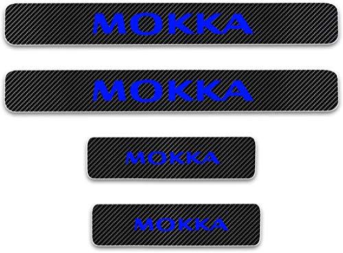 JCJFW Auto Kohlefaser Leder Einstiegsleisten Sill Kick Plates Türschweller für Opel Mokka All Models, Car Scuff Pedal Aufkleber Cover Auto-Styling Zubehör
