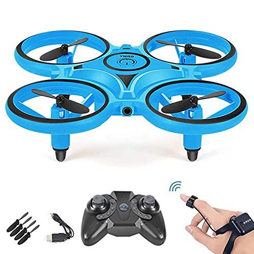 Mini Drone Orologio Quadricottero controllato, Quadricottero telecomandato Drone acrobatico a LED luminoso Giocattolo aeronautico RC per bambini Principianti, Flip 3D Controllo dei gesti e rilevamen