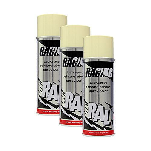 3X KWASNY 288 124 Auto-K Racing Lackspray RAL 1015 hellelfenbein 400ml