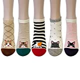 Bowbear Womens 5-Pair Low Cut No Show Ankle Socks, Kitty Lovers