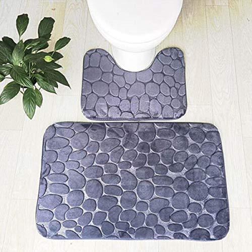 KEAINIDENI toiletmat 2 stks Stone Anti-Slip badmat Set Koraal Fleece Absorbens Badkamer Toilet Tapijt WC voetstuk tapijt, Grijs, 50x80cm en 50x40cm