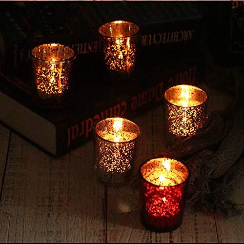 12 St Teelichthalter galvanisierter Glaskerzenständer Kerzenhalter für Hochzeit Geburtstagsfeiern Bar Restaurant Kerzenbecher Cafe Kerzenständer Weihnachts (12 Rosegold Teelichthalter)