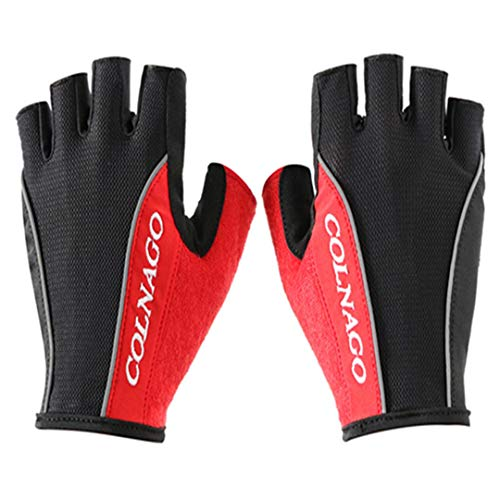 Hontlsen Colnago Cycling Anti-Slip Anti-Sweat Men Women Half Finger Gloves Breathable Anti-Shock Gloves Cycling Gloves red L