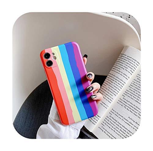 Nine-C para iPhone 12Mini Pro Max Fashion Rainbow Line Smooth Touch para iPhone 11 Pro Max X XR XS Max 7 8 Plus 2020 SE Anti-Knock-T2-ForiPhone SE (2020)