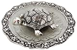AAA STORE® Art Collection Oxidized Silver Plated Fengshui Tortoise,Good Luck Charm Tortoise,Kachua