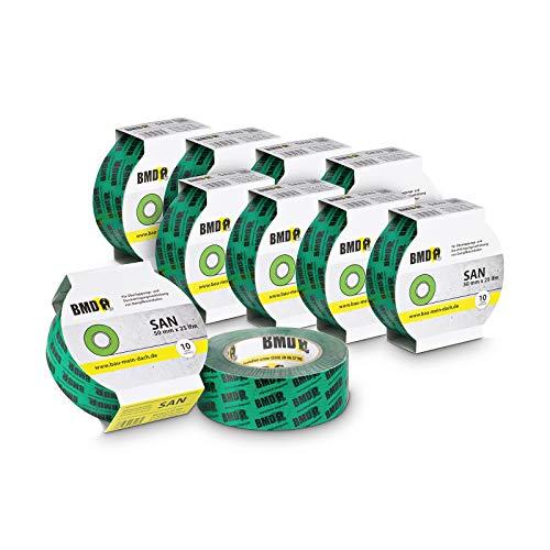 10x BMD - san Hochleistungsklebeband (Grün - 50mm x 25lfm) zur Verklebung von Dampfsperrfolie Dampfbremsfolie nach DIN Norm 4108 Teil 7 Klebeband