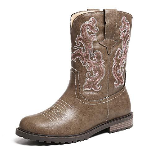 gracosy Cowboy Stiefeletten Damen Flach Winterstiefel Klassische Western Stiefelette Stickereien Schlupfstiefel Schwarz Flach Biker Boots Cowgirl rutschfest Lederstiefel Damenshcuhe