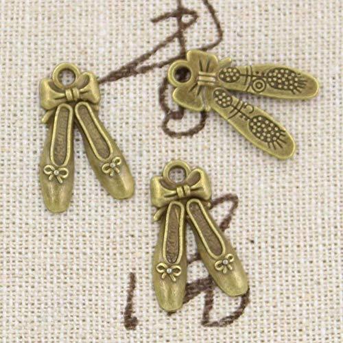 WANM 10Pcs Charms Ballettschuhe Hausschuhe 20X13Mm Antike Herstellung Anhänger Fit Vintage Tibetan Bronze Silber Farbe DIY Handmade Schmuck Legierung Anhänger