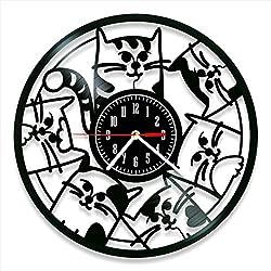 Cats Vinyl Clock, Cats Wall Clock 12, Unique Art Decor, The Best Home Decorations