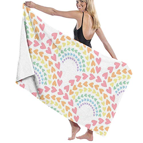 Ewtretr Toalla Playa Bath Towels Rainbow Love Microfiber