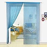 HSYLYM Pantalla de Cortinas de Cuerdas Cuentas,para decoración del hogar,poliéster,Teal Blue,90x245cm