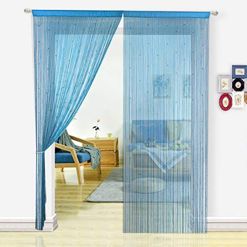 HSYLYM String Curtain with Pearl Beads Dense Fringe Beaded Door Tassel Curtains (100x200cm,Teal)
