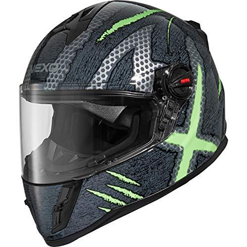 Nexo Integralhelm Motorradhelm Helm Motorrad Mopedhelm Junior III 2.0, Kinder-Motorradhelm für Jungen, Gewicht: 1.190 g klares kratzfestes Visier Belüftung, Ratschenverschluss, Silber/Grün Dekor, L