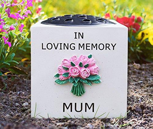 Graveside memorial ornament grave stone flower vase pink flowers memory plaque – available in 3 designs - Mum