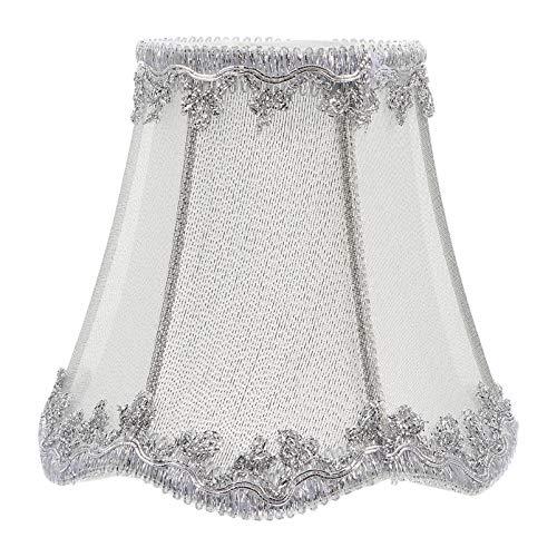 Uonlytech Pantalla de tela plateada para lámpara de techo de arpillera con clip en la lámpara de araña, lámpara de pared para salón o dormitorio