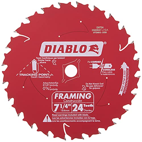 Freud D0724A Diablo 7-1/4-Inch 24 Tooth ATB Framing Saw Blade with 5/8-Inch and Diamond Knockout...