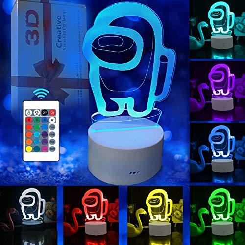 SCRENDY Among Us Luces de noche 3D, lámpara de ilusión 3D Lámpara de escritorio de mesa táctil que cambia de 16 colores para dormitorio de niños con regalos de cumpleaños a distancia para bebés,