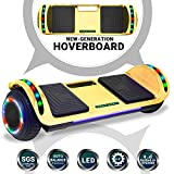 Beston Sports Newest Generation Electric Hoverboard Dual Motors Two Wheels Hoover Board Smart self Balancing Scooter with Built in Speaker LED Lights for Adults Kids Gift (Chrome Gold)