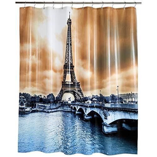 Amazon Basics - Cortina de ducha de PEVA de peso medio, torre Eiffel, 183 x 183 cm