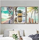 Póster moderno Beach Palm Coconut Tree Estrella de mar Tabla de surf Impresión en el mar Lienzo Pintura Póster nórdico Imágenes de pared 3 piezas 60x80cm sin marco
