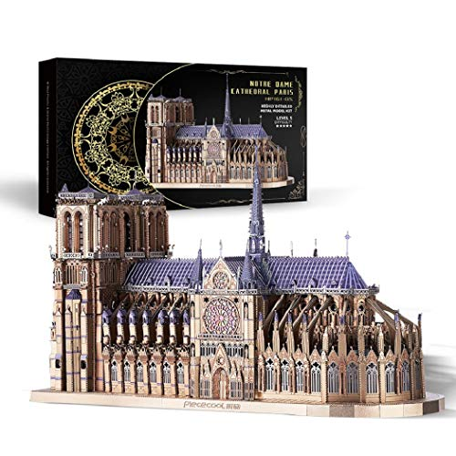 Piececool 3D Metal Model Kits-Notre Dame Cathedral Paris-France Architecture Gothic Cathedral Model...