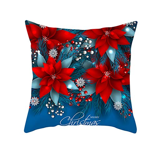 Z&HA Merry Christmas Pillow Cushion Cover,Christmas Bells And Snowflakes Cotton Linen Cushion Covers Home Decorative Xmas Throw Pillowcases 18X18inch,1