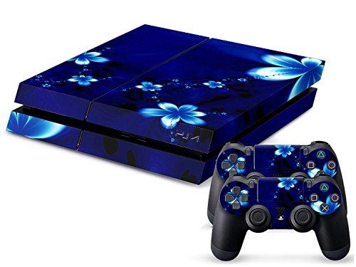 Sony PS4 Playstation 4 Skin Design Foils Pegatina Set - Blue Flower Motivo