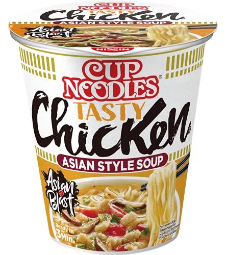 Nissin Cup Noodles – Tasty Chicken, 8er Pack, Soup Style Instant-Nudeln japanischer Art, mit Hühnerfleisch-Geschmack & Gemüse, schnell im Becher zubereitet, asiatisches Essen (8 x 63 g)