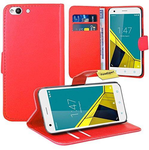 FoneExpert Vodafone Smart Ultra 6 Handy Tasche, Wallet Hülle Flip Cover Hüllen Etui Ledertasche Lederhülle Premium Schutzhülle für Vodafone Smart Ultra 6 (Rot)