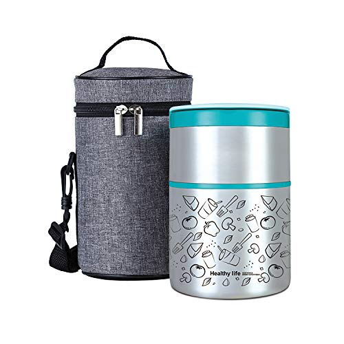 Lille Home Vacuum Insulated Stackable Stainless Steel Thermal Lunch/Snack box, 2-Tier Bento /Food Container with Lunch bag, Smart Diet, Weight Control, 32 Ounces, Blue