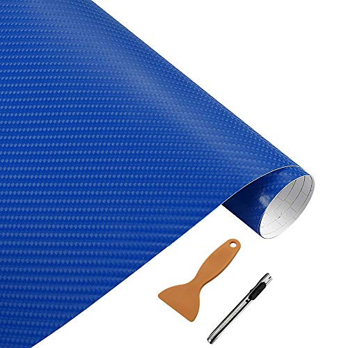 NewL Rollo de vinilo de fibra de carbono azul 3D con película adhesiva de liberación de aire, incluye herramientas de instalación, 30 x 152 cm