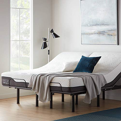 LUCID L150 Bed Base – Upholstered Frame – Head and Foot Incline – Wireless Remote Control Adjustable, Twin XL, Charcoal