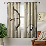 Blackout Lined Curtains Zodiac Sagittarius,Hand Drawn Constellation with Silhouette of a Bow and Arrow,Eggshell Dark Taupe,Thermal Insulated,Grommet Curtain Panel 1 Pair 52'x63'