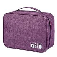 デジタルオーガナイザートラベルバッグ、大容量ポータブル収納バッグ充電器データケーブルイヤホン収納バッグ,紫色