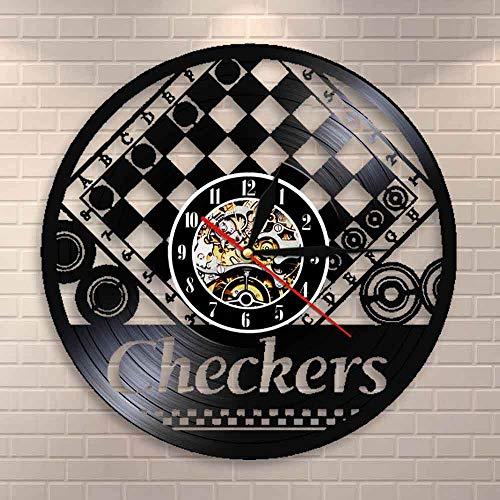 Reloj de pared con tablero de ajedrez y cuadros de ajedrez vintage, de vinilo, para decoración de pared, regalo para los amantes del ajedrez
