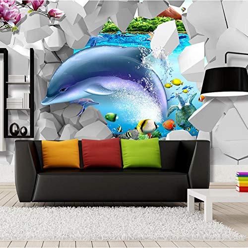 Ponana Coole Dancing Dolphin In Flower 3D Brick Wallpaper Für Wand 3 D Bodenbelag Foto Wallpaper Für Wohnzimmer Wandbild Rolls Kinder Schlafzimmer-150X120Cm