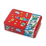 carioca box | scatola latta rossa pennarelli superlavabili punta fine e maxi, con album da colorare, 100 pennarelli (42736/03)