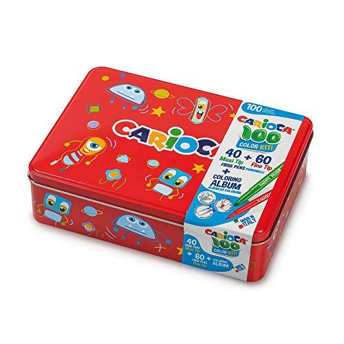 CARIOCA Color Box | Pennarelli Lavabili per Bambini Scatola Latta Rossa, Set Pennarelli Punta Fine e Punta Grossa con Album da Colorare, 100 Pennarelli