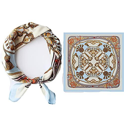 WRF Womens Pañuelo Sunscreen Square Bandanas Turban, All Seasons Multifuncional Ladies Tie Shawl,Bufandas 100% para hombre de seda, Scarf de bebé 55x55cm