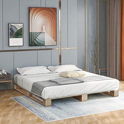 Jeerbly Somier de madera de alta calidad, cama con plataforma con soporte de listones fuerte, madera natural, 140 x 200 cm