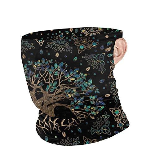 xilou Baum des Lebens Yggdrasil Golden und Marmor Ornament Unisex Atmungsaktive Halstasche Face Cover Maske Ohrschlaufen Bandana Sturmhaube Schal für Outdoor Schutz