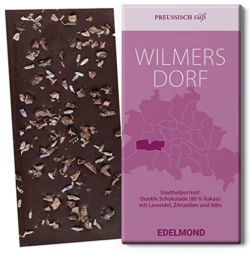 Lavendel, Zitrusöl und Kakaonibs Bio Schokolade. Berliner Stadtteil Wilmersdorf. Dunkel und Vegan