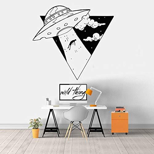 Raum Wandtattoo Rakete Fliegende Untertasse Alien Astronaut Tür und Fenster Aufkleber Junge Schlafzimmer Spielzimmer Kindergarten Heimdekoration Wandbild 28x30 cm