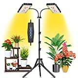 Felmann Grow Light for Indoor Plants, 200W Dual Heads Timing Dimmable Full Spectrum Sunlight White Indoor Plant Light with Stand, LED Plant Grow Light with Adjustable Tripod Stand