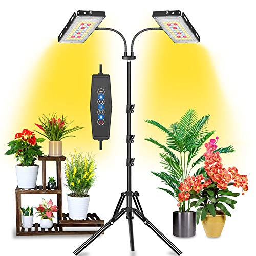 Felmann Grow Light for Indoor Plants, 200W Dual Heads Timing Dimmable Full...