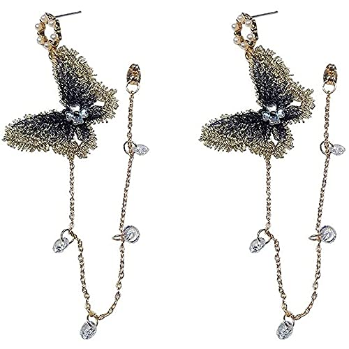 Pendientes for las mujeres, joyería de la mariposa floral gota de la borla cuelga los pendientes color de cristal de diamante de la mariposa del perno prisionero de la moda de insectos for niños y reg