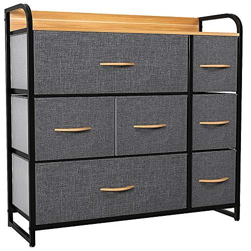 YITAHOME Cajonera, cómoda de Tela con 7 cajones, Sistema de Archivo Cajas organizadoras para la Ropa/Marco de Metal y Tablero de MDF/para salón Dormitorio Oficina, Gris Oscuro