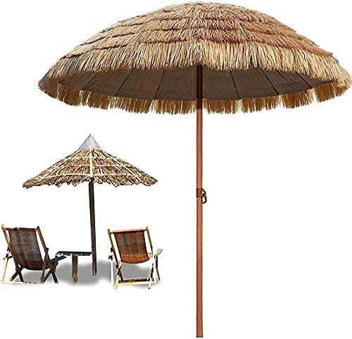 HUYEERDF 145 cm Thatch Parasol Hawaiian Hula Beach Market Mercado Paraguas Sombrilla Sunscreen UV50 + W / 8 Costillas de jardín al Aire Libre Parasol Natural